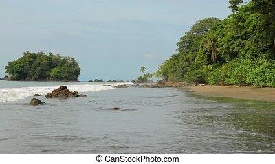 Sandy beach landscape - Sandy beach of the Pacific Ocean...