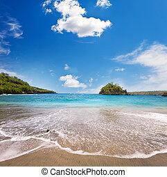Sandy beach of the sea and green hills. Indonesia. Bali