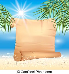 Sandy beach with palm trees and papyrus