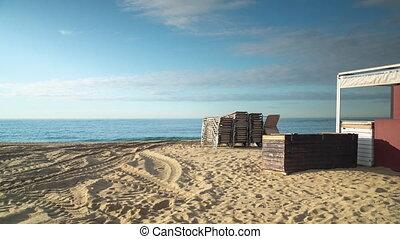 Sandy beach with sea, Barcelona, Spain - Sandy beach with ...