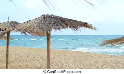 Sandy Beach With Thatched Umbrellas On A Windy Day