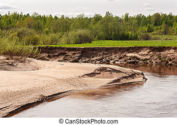 sandy coast of the twisting river