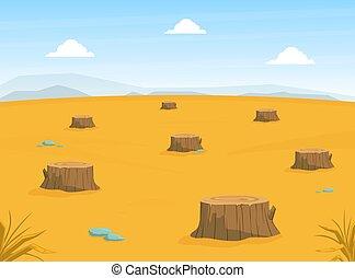 Sandy Desert Landscape with Many Stumps, Deforestation, Drought, Global Warming Conept Cartoon Vector Illustration.