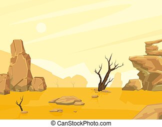 Sandy Desert Landscape with Mountains and Lonely Dead Tree, Drought, Global Warming Conept Cartoon Vector Illustration.