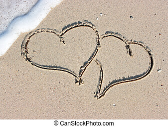 Sandy hearts - Two hearts drawing on the sandy beach