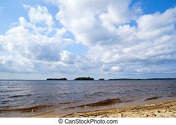 Sandy lake coastline