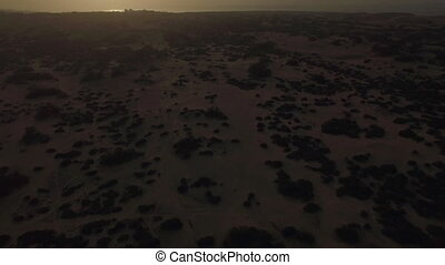 Sandy landscape at sunset, aerial view