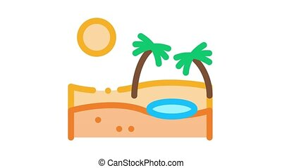 Sandy Landscape Icon Animation. color Sandy Landscape animated icon on white background
