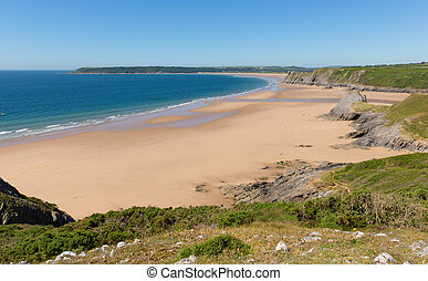 Sandy Pobbles beach The Gower Wales