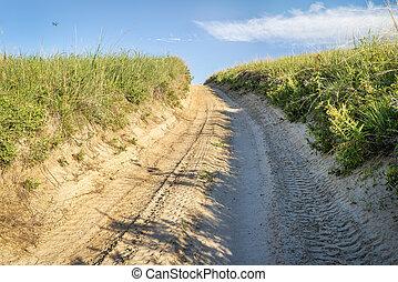 sandy road in Nebraska Sandhills