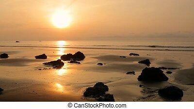 Sandy Sea Beach Bliss - Sandy beach in sunset on the misty ...