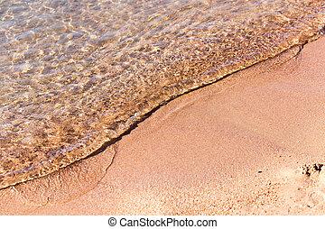 sandy shore of the sea as a backdrop