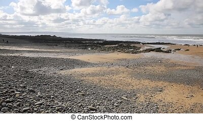 Sandymouth beach North Cornwall pan - Sandymouth beach North...