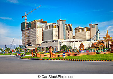 Sangkat Chaktomuk square and Naga World Complex behind, Phnom Penh, Cambodia.