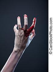 sanglant, extrême, main, zombi, body-art