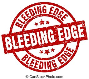 sangramento, borda, redondo, grunge vermelho, selo