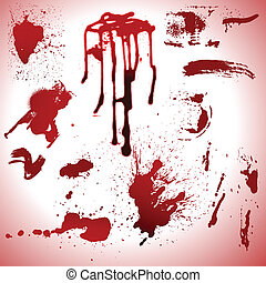 sangre, gotas, y, manchas, vectors