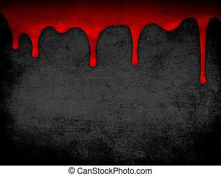 sangre, grunge, goteo, plano de fondo, rojo