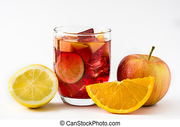 Sangria drink in glass isolated on white background