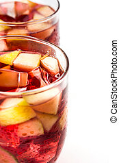 Sangria drink in glass isolated on white background.
