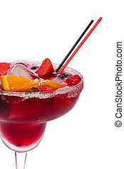 Glass of sangria against a white background.