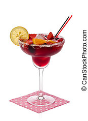 Glass of sangria with a slice of lemon, and assorted fresh fruit against a white background.
