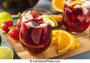 sangria, swojski, zachwycający, czerwony