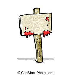 sangriento, caricatura, señal