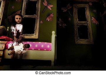 sangriento, fantasma, niña, con, muñeca, en, dormitorio