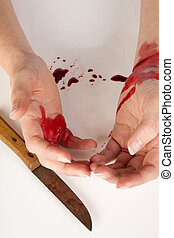 sangriento, manos, y, suicidio