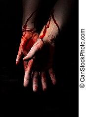 sangriento, oscuridad, manos