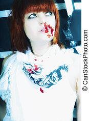 sangue, mulher, jovem, rosto