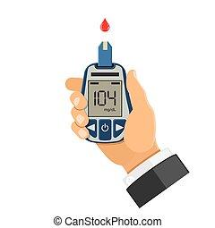 sangue, relógio glucose, em, mão