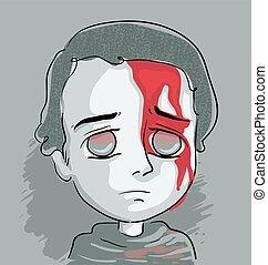 sanguine, garçon, figure, gosse, illustration