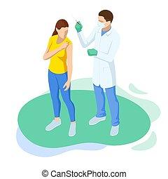 sanguine, isométrique, coup, ou, grippe, docteur, concept., covid-19, grippe, donner, prendre, patient, essai, vacciner, vaccination., temps, scientifique, médecine, vaccin, infirmière, needle.