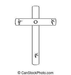 sanguine, marques, contour, croix