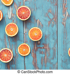 sanguine, oranges, divisées deux