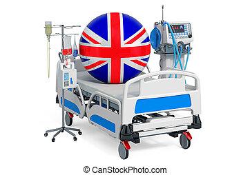 sanità, 3d, britannico, britain., icu, interpretazione,...