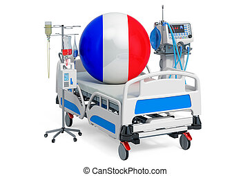 sanità, 3d, francese, france., icu, interpretazione