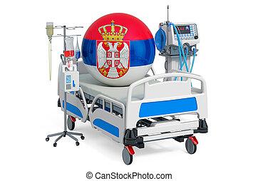sanità, 3d, serbian, serbia., icu, interpretazione