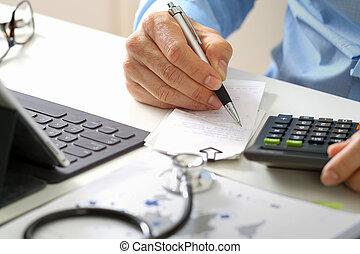 sanità, calcolatore, concept., far male, costi medici, onorari, mano, ospedale, usato, dottore, moderno