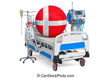 sanità, denmark., 3d, danese, icu, interpretazione