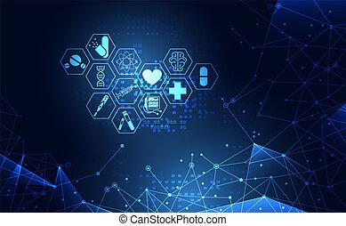 sanità, disegno, tecnologia, carta da parati, icona, astratto, tecnologia, blu, sagoma, ciao, salute, digitale, futuro, trattamento, concetto, medico, innovazione, scienza, web, moderno, medicina, fondo.