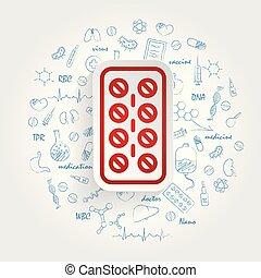 sanità, vettore, fondo, striscia, handdrawn, doodles, pillole, icona
