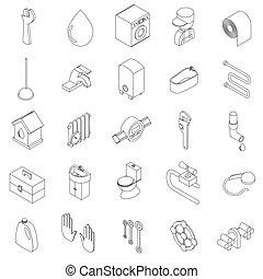 sanitário, engenharia, jogo, ícones