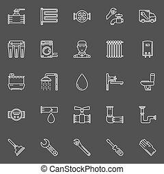 sanitário, engenharia, linha, ícones