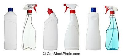 sanitär, vit, produkt, flaska
