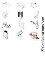 sanitair, techniek, set, pictogram