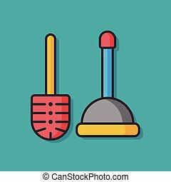 sanitaire, plongeur, vecteur, icône