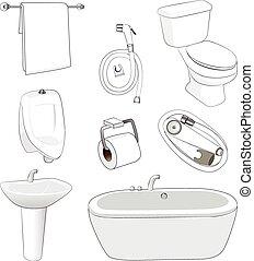 sanitario, cuarto de baño, mercancía